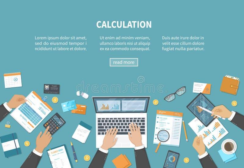 Berechnungskonzept Steuerbuchhaltung Finanzanalyseanalytik, Planungsstatistikforschung Geschäftsmannhände auf dem Schreibtisch stock abbildung