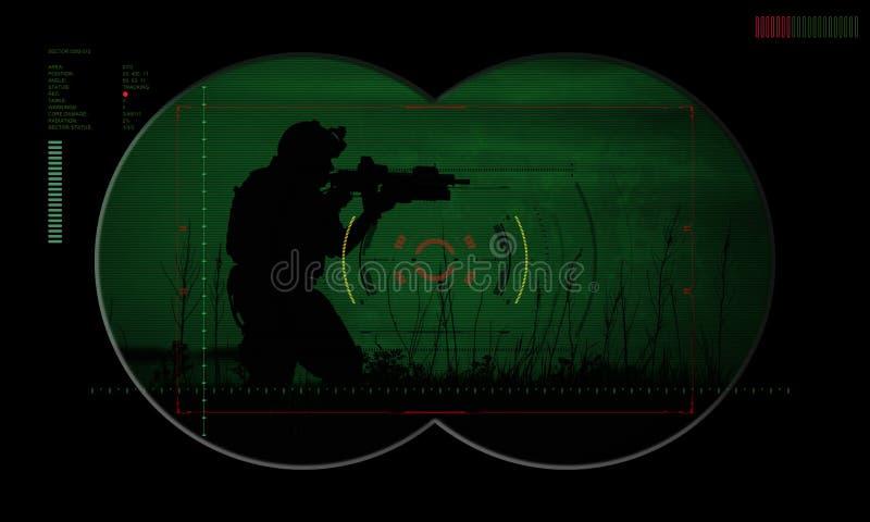 Bereden politieteam tijdens de gijzelaarsredding van de nachtverrichting mening door vector illustratie