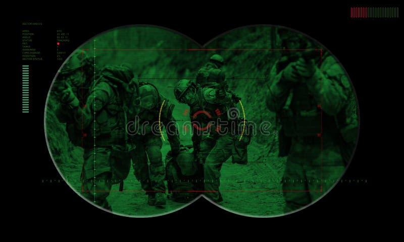Bereden politieteam tijdens de gijzelaarsredding van de nachtverrichting mening door stock afbeelding