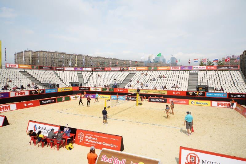 Bereich für Turnier Grand Slam des Strandvolleyball stockfoto