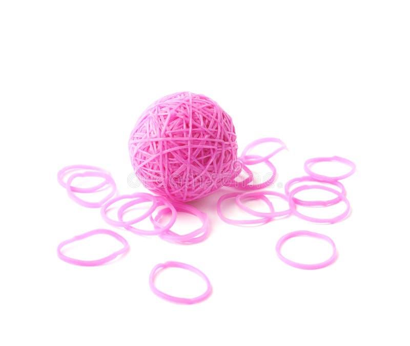 Bereich gemacht von den rosa Gummiwebstuhlbändern lizenzfreie stockfotografie