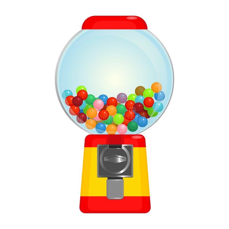 Bereich gumball Maschinenbehälter mit süßen Süßigkeiten vector Illustration lizenzfreie abbildung