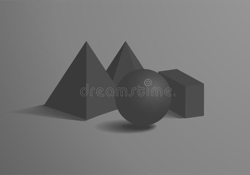 Bereich und würfelförmige Prisma-quadratische Pyramiden-Zahlen festgesetzt lizenzfreie abbildung