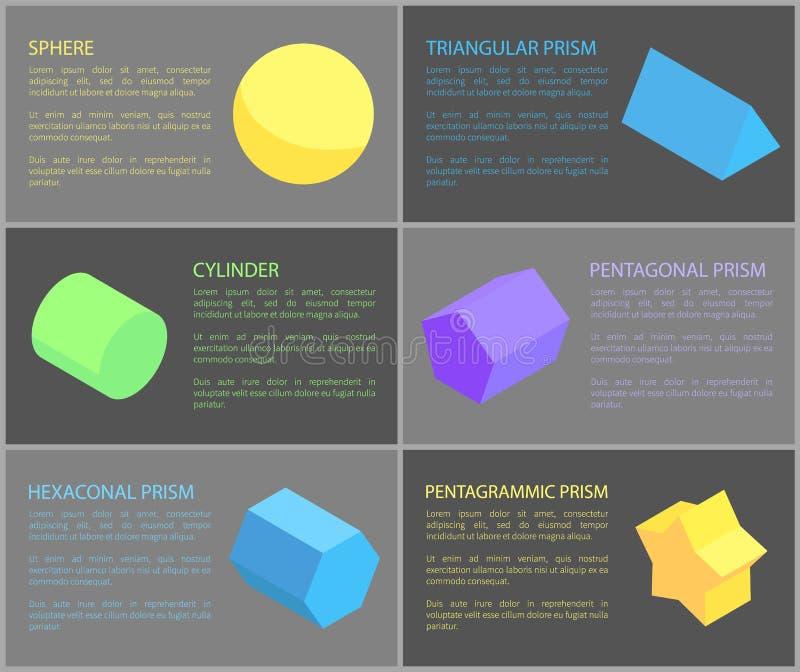 Bereich und Zylinder, geometrische Obgects-Fahne vektor abbildung
