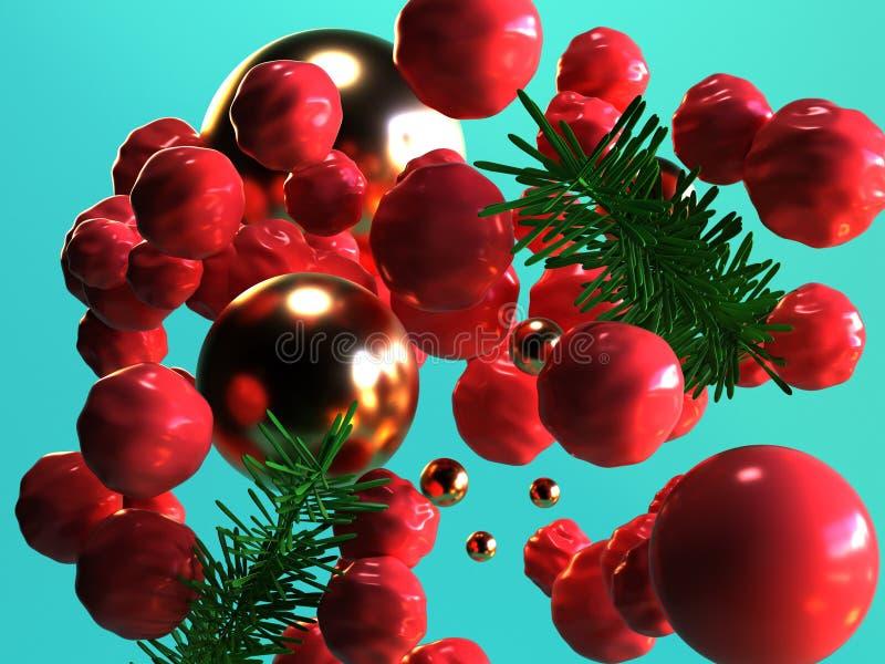 Bereichgoldkugel des Hintergrundes der Wiedergabe 3d der roten des Blattzusammenfassungsweihnachtsfeiertags grünes Konzept des ne stock abbildung