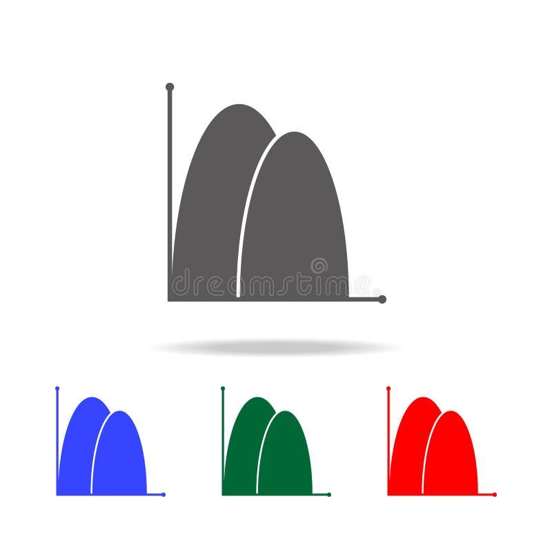 Bereichsdiagrammikone Elemente des Diagramms und der Tendenz stellen multi farbige Ikonen grafisch dar Erstklassige Qualitätsgraf stock abbildung