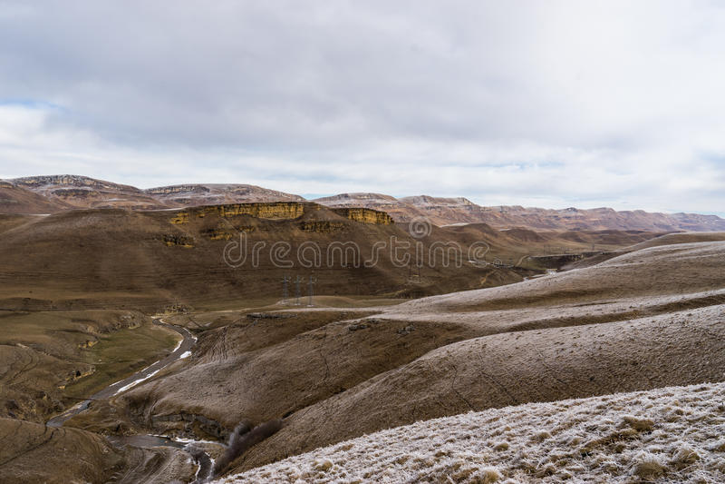 Bereifte Berglandschaft stockfotos