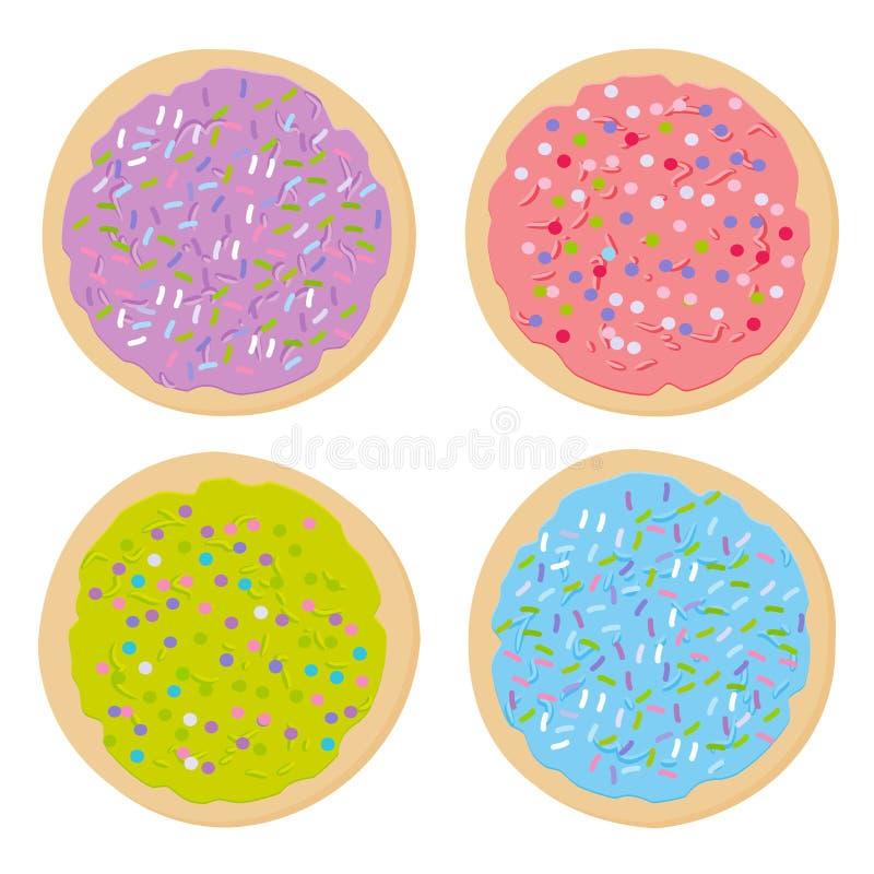 Bereifte Zuckerplätzchen, stellen gebackene Plätzchen des Italieners frisch mit dem rosa violetten blauen Grün ein, das bereift u stock abbildung