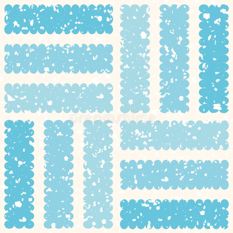 Bereifter geometrischer Entwurf mit weißen Eispartikeln und gestreiften Quadraten Nahtloses Wintervektormuster auf Creme stock abbildung