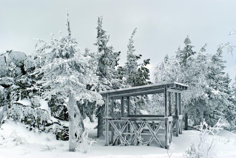Bereifter hölzerner Gazebo im Wintergebirgswald stockfoto
