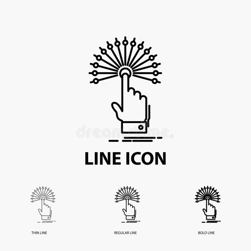 bereik, Aanraking, bestemming, digitaal, analitisch Pictogram in Dunne, Regelmatige en Gewaagde Lijnstijl Vector illustratie stock illustratie