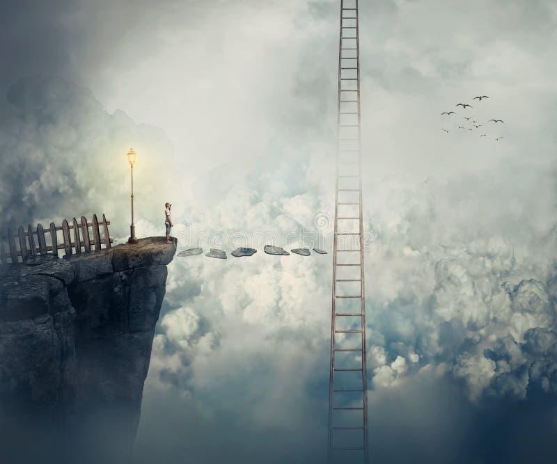 Bereik de ladder royalty-vrije stock afbeeldingen
