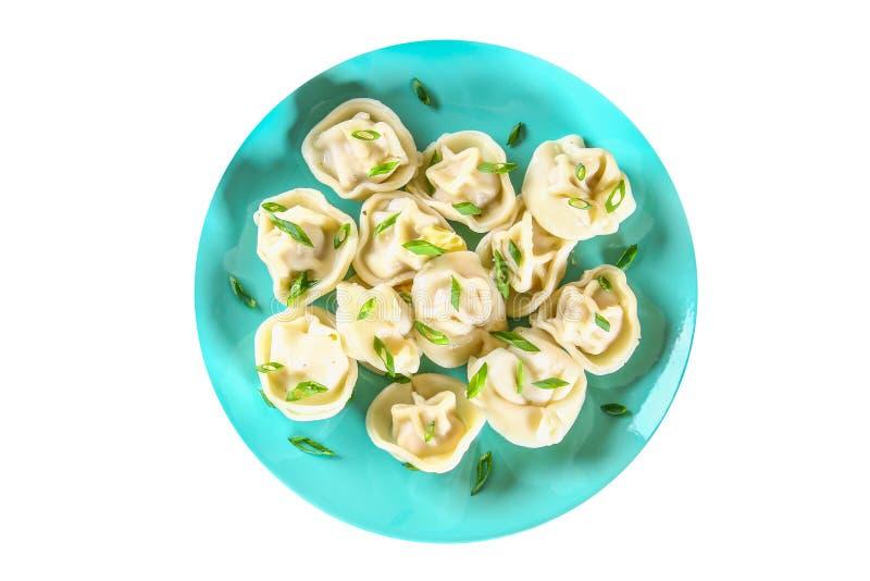 Bereite Mehlklöße Mehlklöße getrennt auf weißem Hintergrund Gekochte Mehlklöße auf einer Platte Beschneidungspfad eingeschlossen lizenzfreie stockbilder