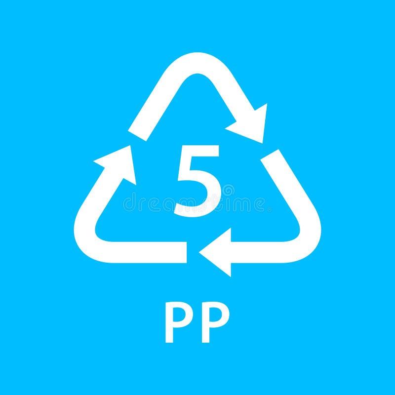Bereiten Sie die Arten 5 des Pfeildreiecks pp., die auf blauem Hintergrund, Art Logo der Symbologie fünf von Plastik-pp.-Material vektor abbildung