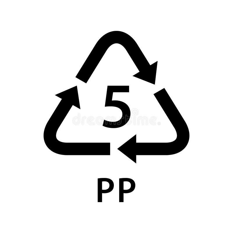 Bereiten Sie die Arten 5 des Pfeildreiecks pp., die auf weißem Hintergrund, Art Logo der Symbologie fünf von Plastik-pp.-Material stock abbildung