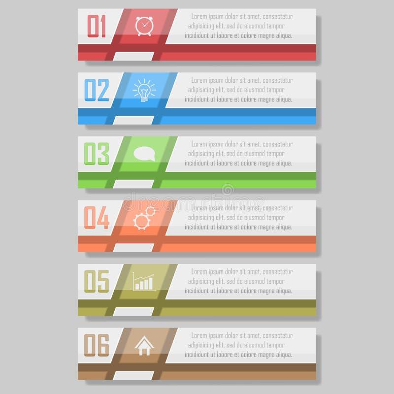 Bereiten Sie für Ihren Entwurf vor kann für Arbeitsflussplan, Diagramm verwendet werden, nummeriert optionsinfographic Vektorillu stockbild