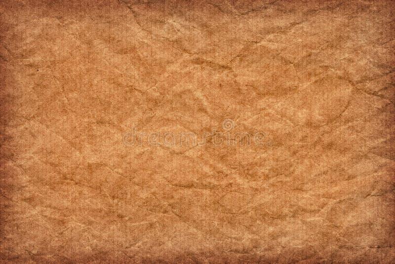 Bereiten Sie gestreifte Brown-Kraftpapier-Schmutz-Beschaffenheit - Detail auf stockfoto