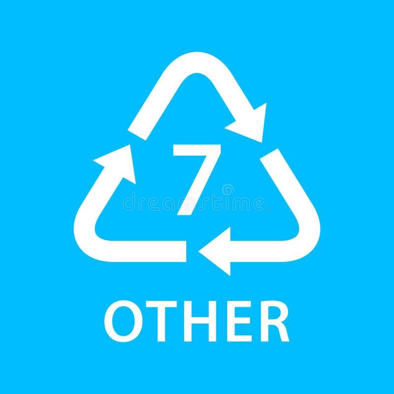 Bereiten Sie Pfeildreieck ANDERE Arten 7, die auf blauem Hintergrund, Art Logo der Symbologie sieben von Plastik ANDERE Materiali lizenzfreie abbildung