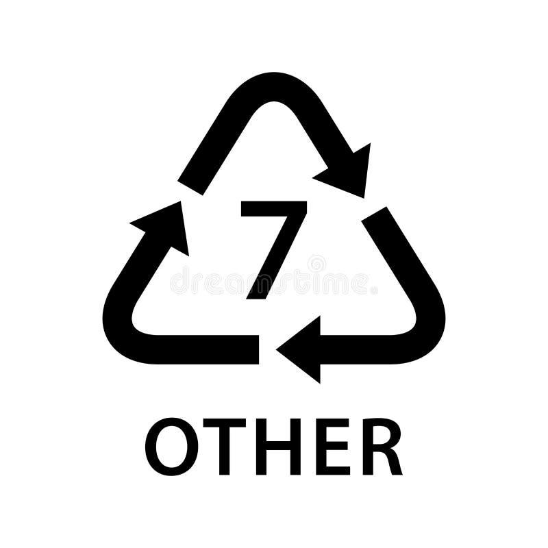 Bereiten Sie Pfeildreieck ANDERE Arten 7, die auf weißem Hintergrund, Art Logo der Symbologie sieben von Plastik ANDERE Materiali lizenzfreie abbildung