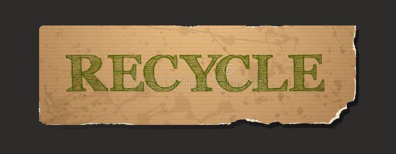 Bereiten Sie Text auf leerem Schmutzrecyclingpapier auf lizenzfreie abbildung