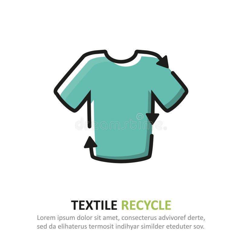 Bereiten Sie Textilikone in einem flachen Entwurf auf Auch im corel abgehobenen Betrag vektor abbildung