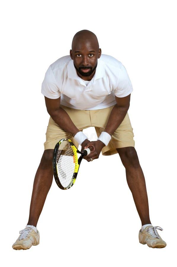 Bereiten Sie vor, um Tennis zu spielen stockbild