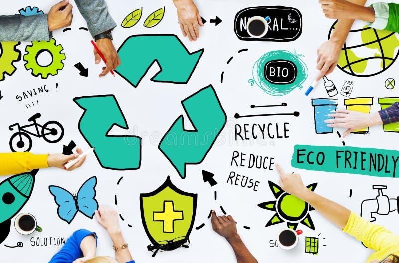 Bereiten Sie Wiederverwendung verringern Bio-freundliches Umwelt-Konzept Eco auf stockfotografie