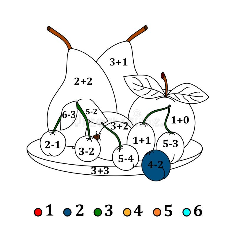 Bereken de voorbeelden en vul kleuren afhankelijk van het resultaat - vruchten stock illustratie