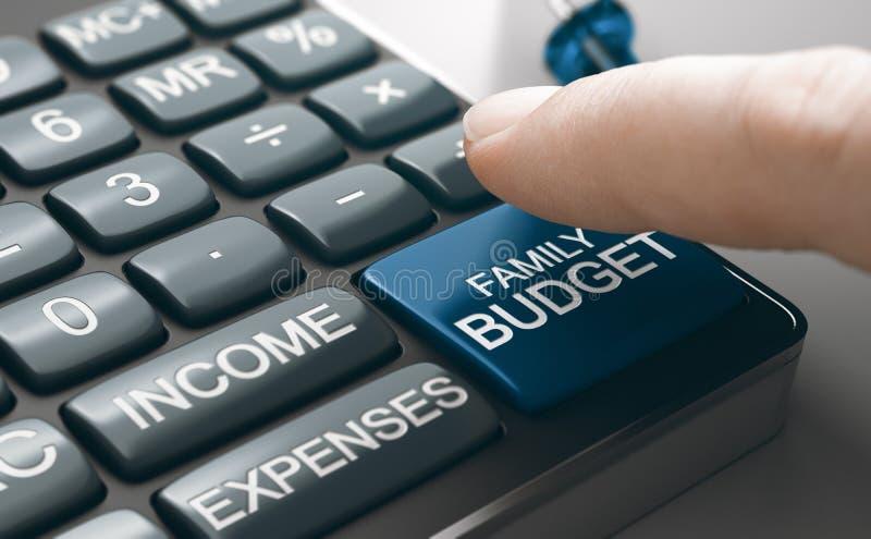 Bereken het gezinsbudget, de huishoudelijke begroting, het inkomen en de kosten royalty-vrije stock fotografie