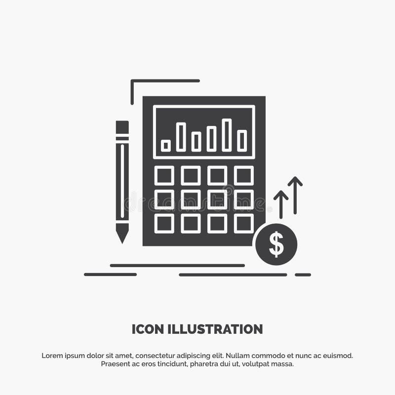 Berekening, financi?le gegevens, investering, marktpictogram glyph vector grijs symbool voor UI en UX, website of mobiele toepass vector illustratie