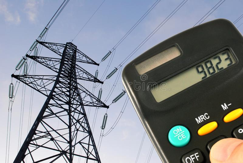 Berekening van elektriciteitsverbruik stock afbeeldingen