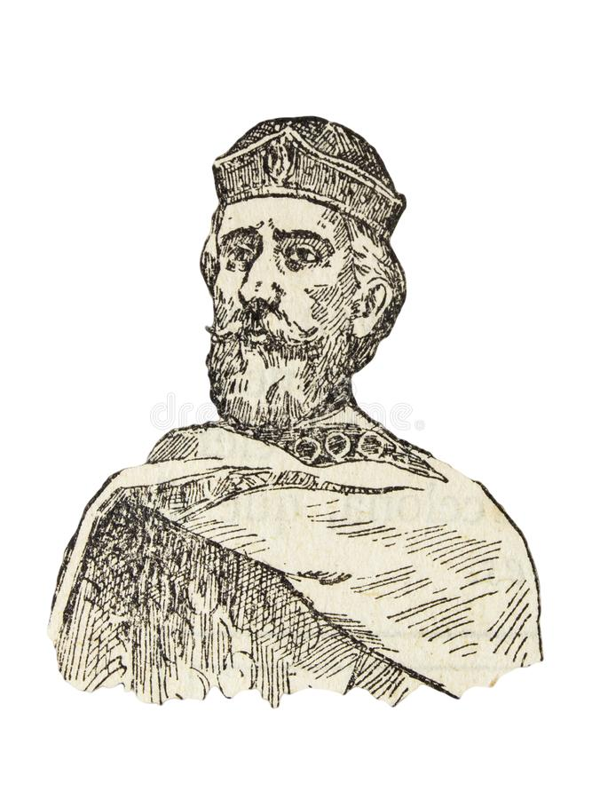 Berenguer Ramon I, count of Barcelona, Girona, and Ausona from 1018 to 1035. Badajoz, Spain - Jan 7th, 2019: Berenguer Ramon I, count of Barcelona, Girona, and stock illustration