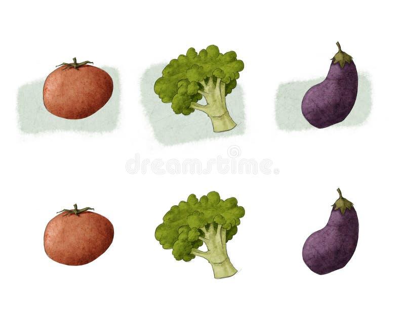 Berenjena del bróculi del tomate ilustración del vector
