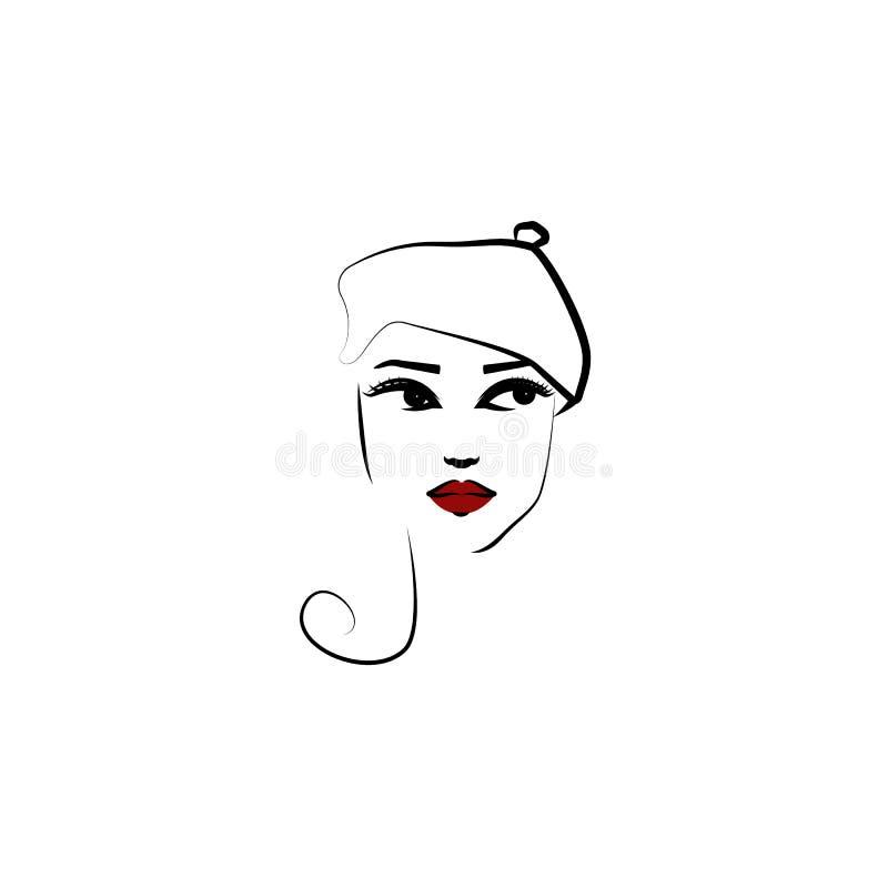 Beret καπέλο, εικονίδιο κοριτσιών Στοιχείο του όμορφου κοριτσιού σε ένα εικονίδιο καπέλων για την κινητούς έννοια και τον Ιστό ap διανυσματική απεικόνιση