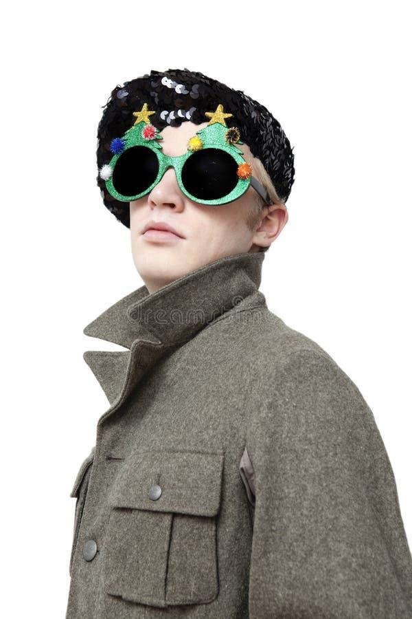 beret πράσινο nerd γυαλιών γύρω από τ στοκ φωτογραφία