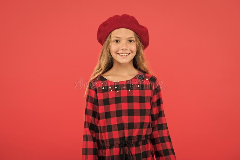 Beret style inspiration. How to wear beret like fashion girl. Fashionable beret accessory for female. Kid little cute. Girl with long hair posing in hat red stock images