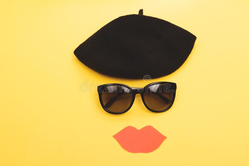 Beret, sunglasses and lips royalty free stock photos
