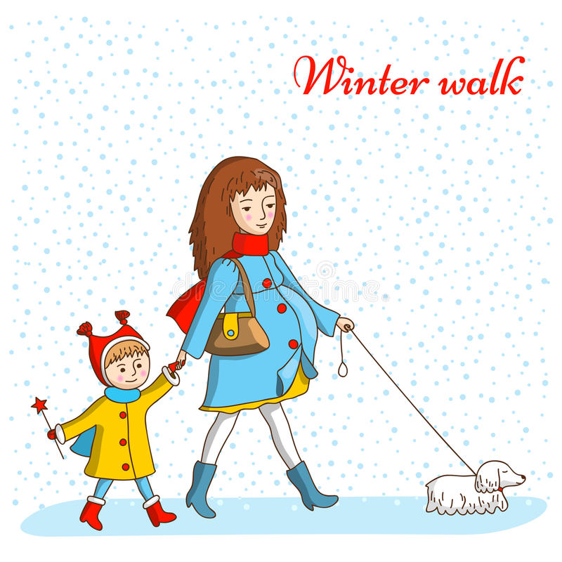 bereta błękitny nakrętki żakieta ojca zielonej kurtki mum czerwona syna spaceru zima ilustracja wektor