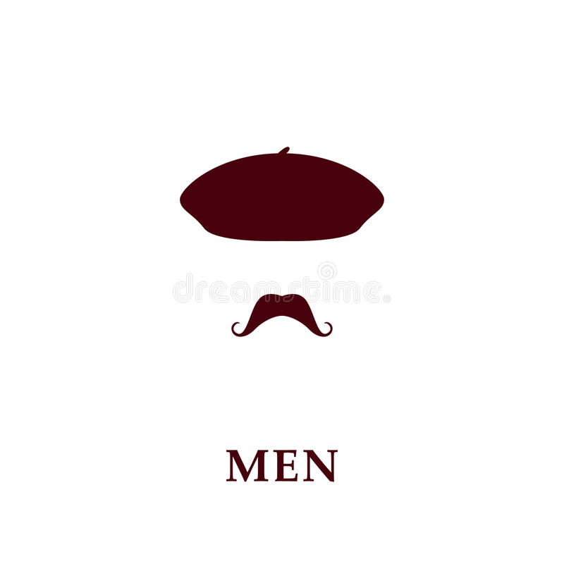 Bereta i wąsy ikona ilustracji
