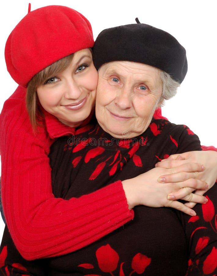 berets granddaughter grandmother happy στοκ εικόνες