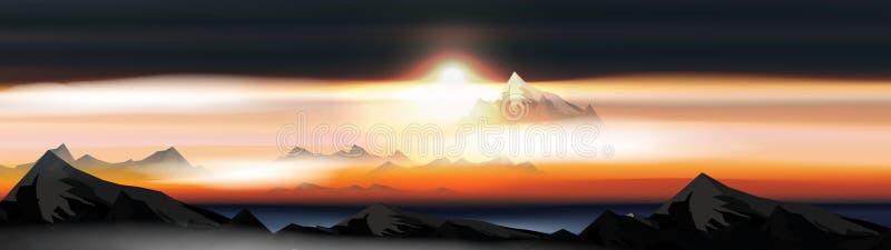 Berg över molnlandskapet på solnedgången eller Dawn Panorama - vektorillustration stock illustrationer