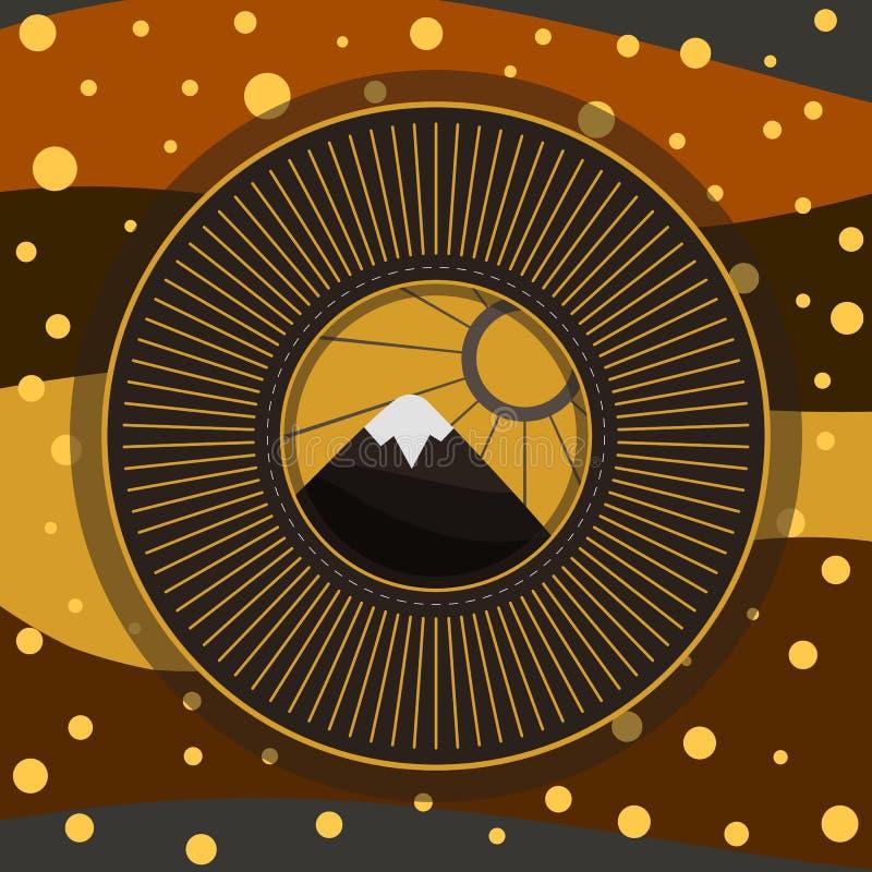 Berg Art Illustration royaltyfria bilder