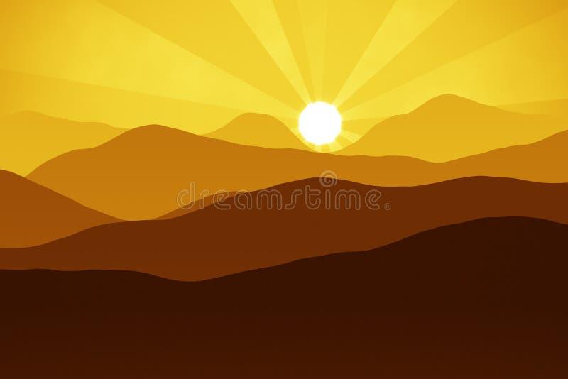 Berg bij zonsondergang vector illustratie
