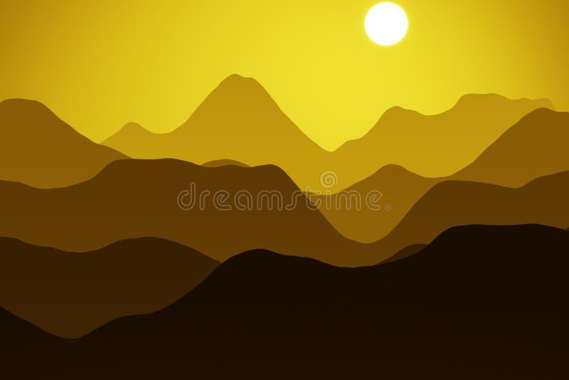 Berg bij zonsondergang stock illustratie