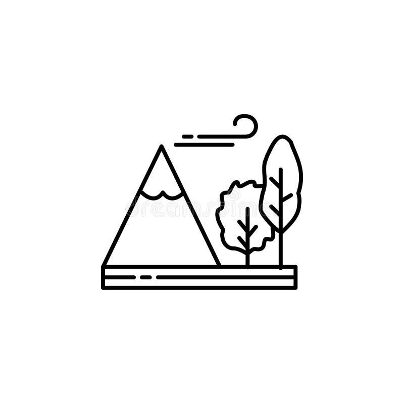 Berg, boom, winderig, overzichtspictogram Element van landschappenillustratie Tekens en symbolen het overzichtspictogram kan voor vector illustratie