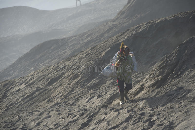 Berg Bromo Surabaya Indonesien 1. August 2015: Touristisches Trekking stockbild