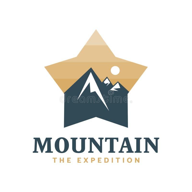 Berg die Expedition, Forscher, Logo, Ausweis vektor abbildung