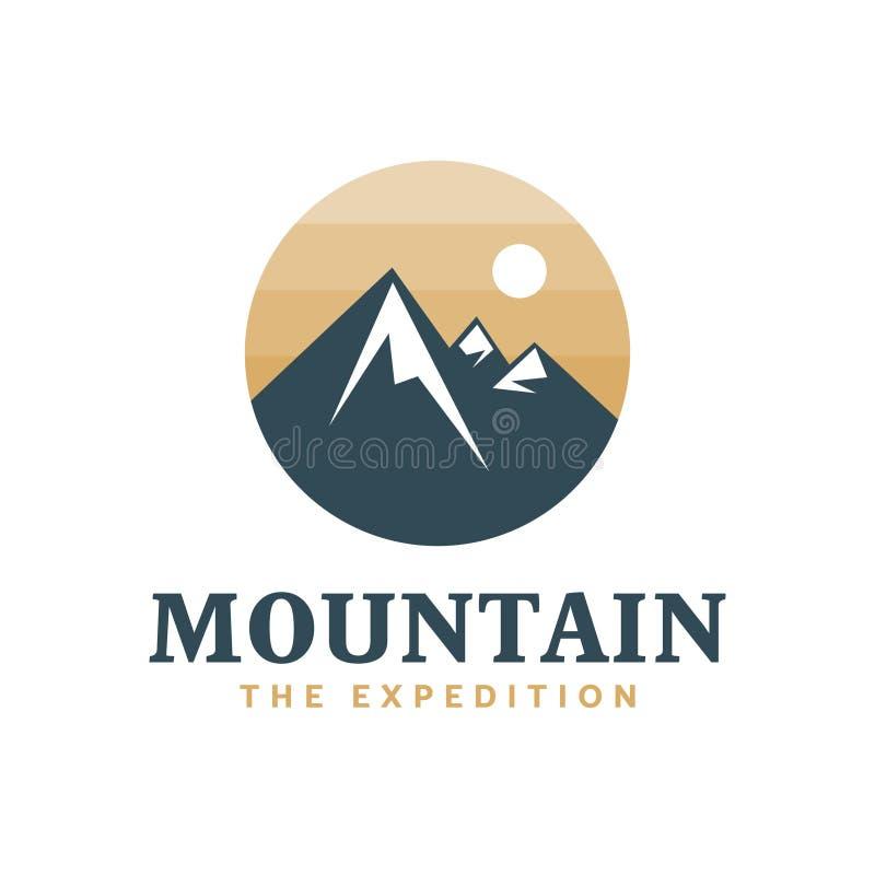 Berg die Expedition, Forscher, Logo, Ausweis stock abbildung
