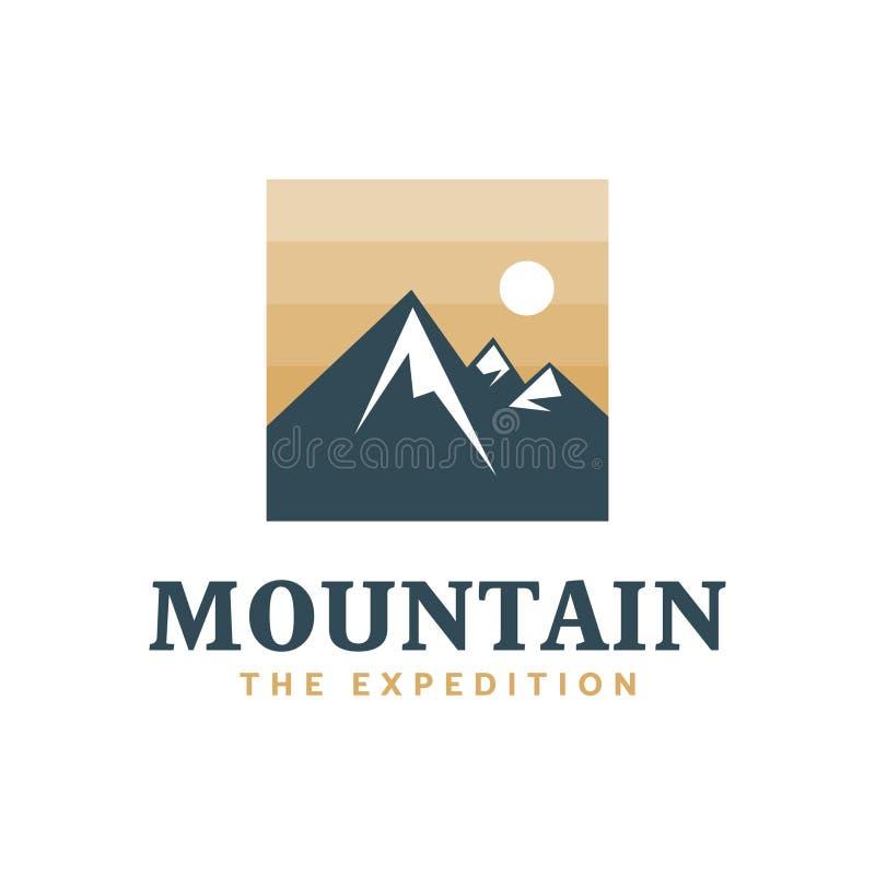 Berg die Expedition, Forscher, Logo, Ausweis lizenzfreie abbildung