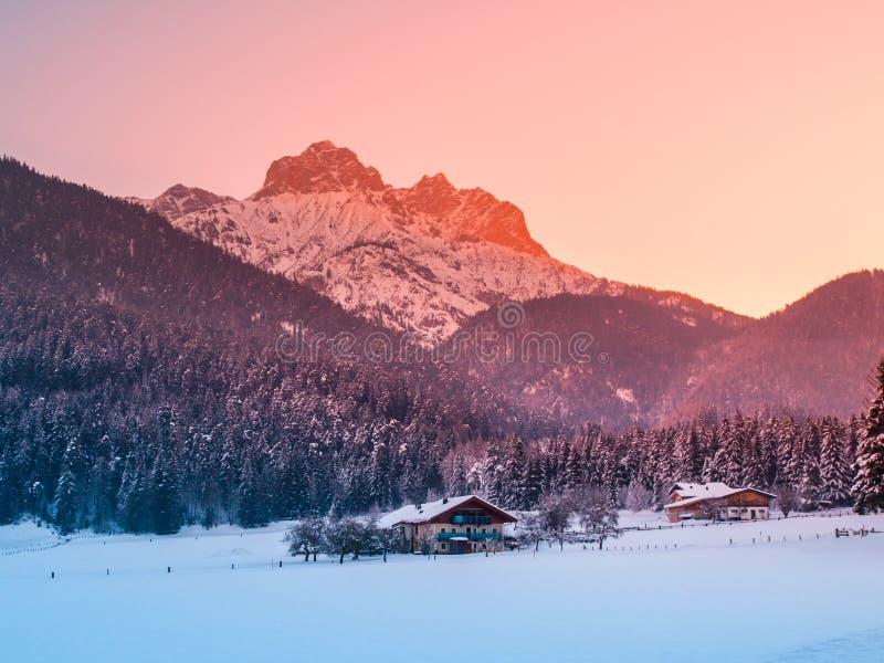 Berg door zonsopgang in de winteralpen die wordt verlicht Het alpiene landschap van de Freezyochtend stock foto's